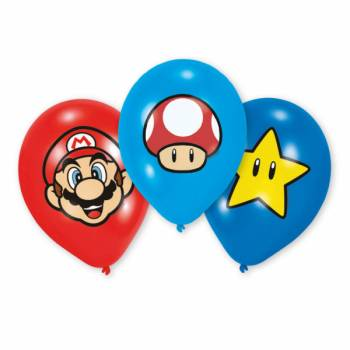 Lot 6 Ballons Super Mario impression couleur en latex