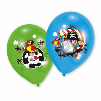 6 Ballons latex quadri Pirate