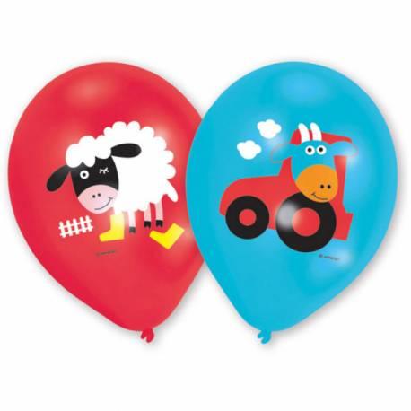Lot 6 Ballons La Ferme impression couleur en latex pour créer une belle décoration d'anniversaire à thème à votre enfant.Dimensions : 23 cm