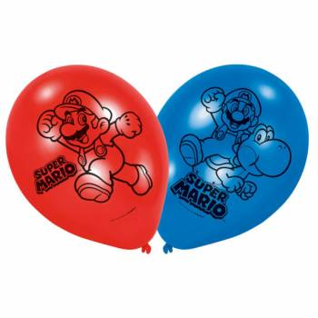 Lot 6 Ballons Super Mario en latex