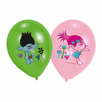 Lot 6 Ballons Trolls impression couleur en latex