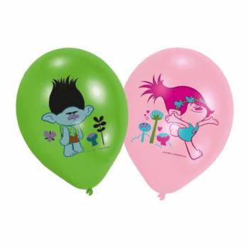 Lot 6 Ballons Trolls impression couleur en latex