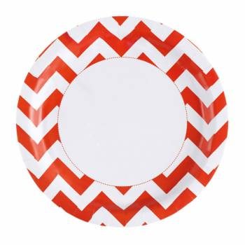 Assiettes jetables chevrons orange