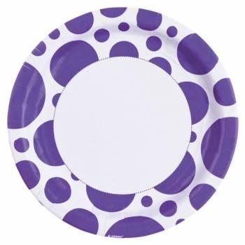 Assiettes jetables pois violette