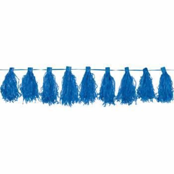 Pompons franges bleu
