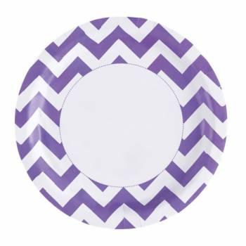 Assiettes jetables chevrons violette