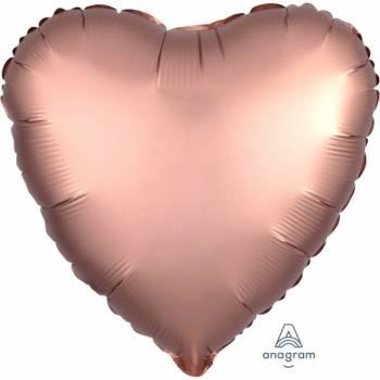 Ballon hélium satin luxe gold rose coeur