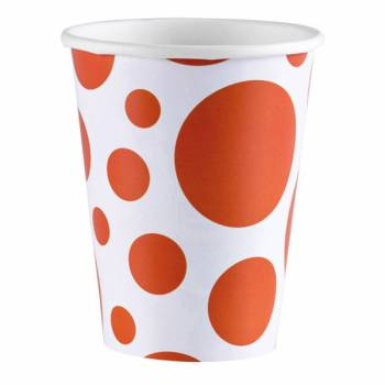 Gobelets carton pois orange