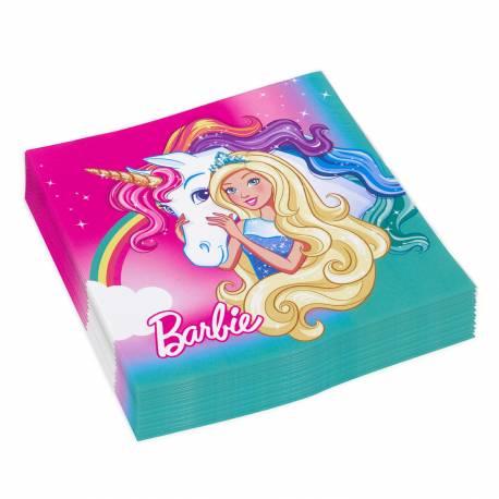 Serviettes en papier barbie licorne - Barbie licorne ...