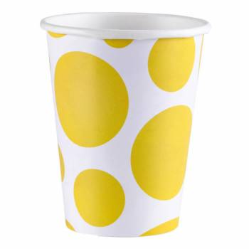Gobelets carton pois jaune