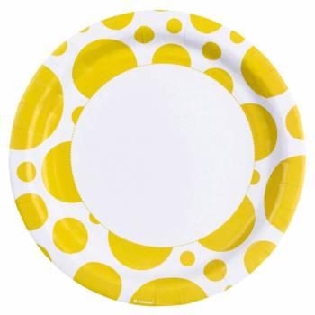 Assiettes jetables pois jaune