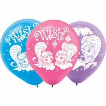 6 Ballons latex anniversaire Shimmer et Shine