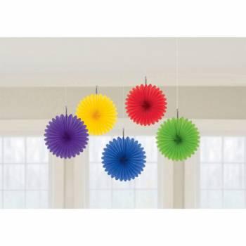5 décors à suspendre éventails multicolors