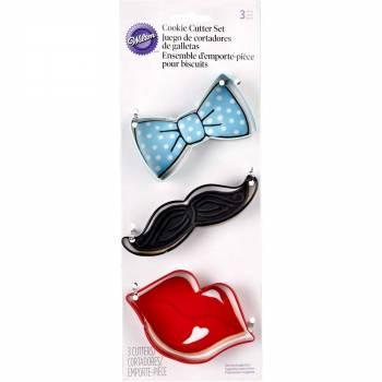 3 emporte pièces noeud moustache et lèvres