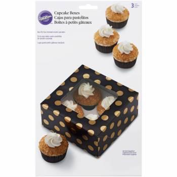 3 Boîtes cupcakes noir pois or Wilton