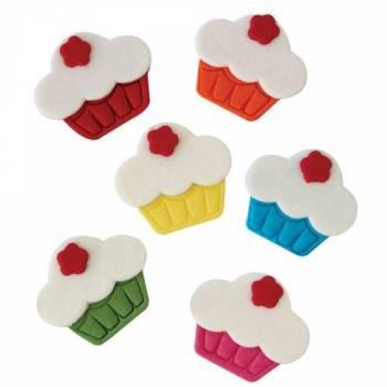 6 Décors en sucre Cupcakes color PME
