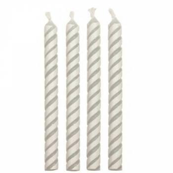24 Bougies rayure blanche