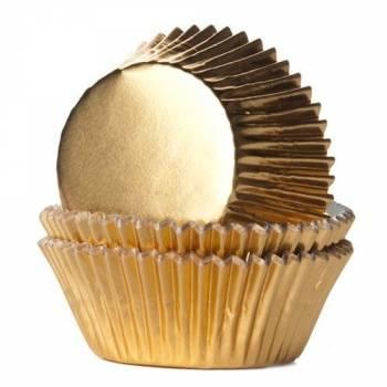 24 Caissettes cupcakes métal or