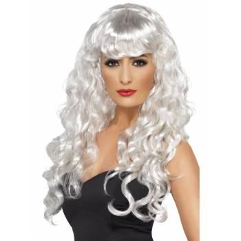 Perruque blanche longue bouclée