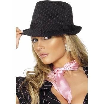 Chapeau gangster rayé rose