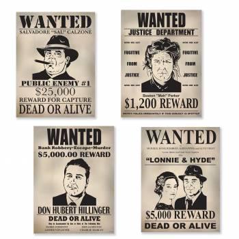 4 Pancartes Wanted gangster