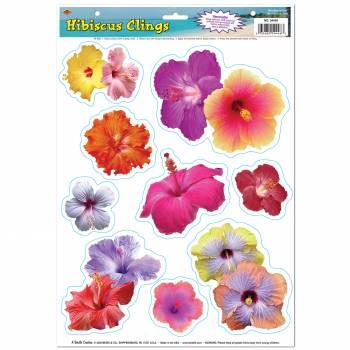 9 Décors de vitre fleurs Hibiscus autocollants