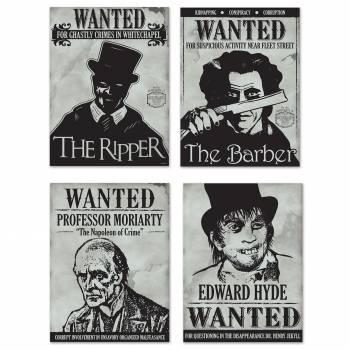 4 Affiches en carton Wanted tueur en serie