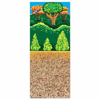Toile murale plastifiée fond Forêt thème jeux Vidéo