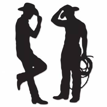 2 silhouettes cartonnées cowboys