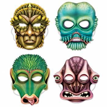 4 Masques Aliens en carton