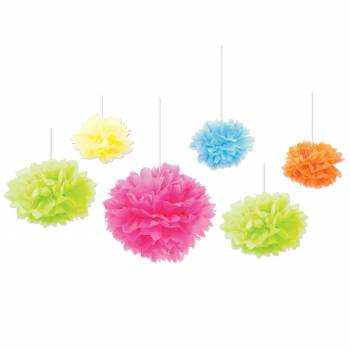 Assortiment de 6 boules froufrous multicolore