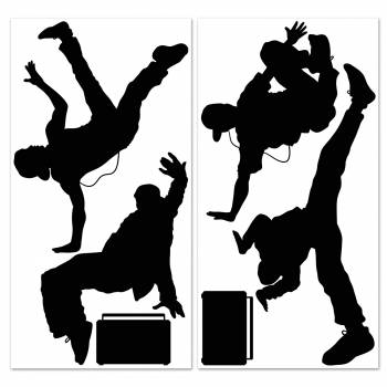 Silhouette personnages breaking dance