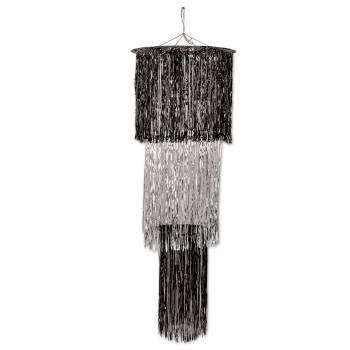 décors à suspendre chandelier métallisé noir et argent