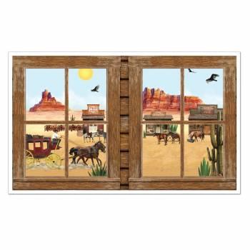 Décors fenêtre sur ville western