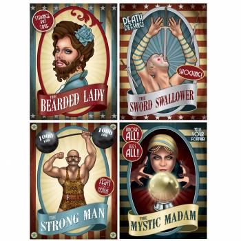 4 Affiches artiste vintage circus