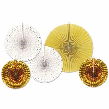 5 décors à suspendres éventail or/blanc