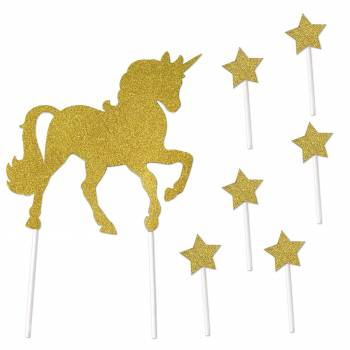 Cake topper licorne or pailleté