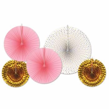 5 décors à suspendres éventail or/rose/blanc
