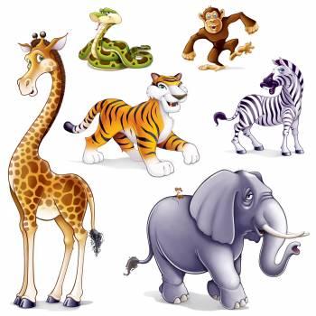 6 Décors muraux Animaux de la Jungle