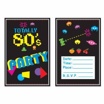 8 Cartes invitations Années 80