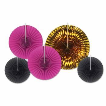 5 décors à suspendres éventail or-fuchsia-noir