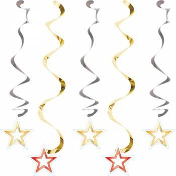 5 Suspensions étoiles or et rouge