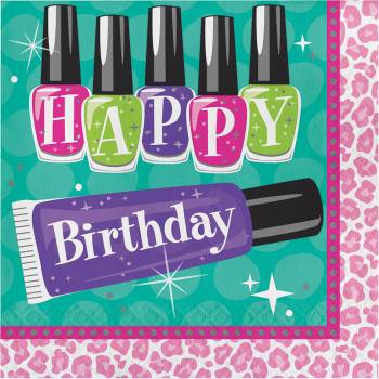 16 Serviettes Beauty Party Happy Birthday