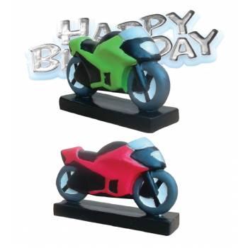 Figurine en plastique Moto avec plaque Happy Birthday