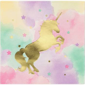 16 Serviettes licorne d'or