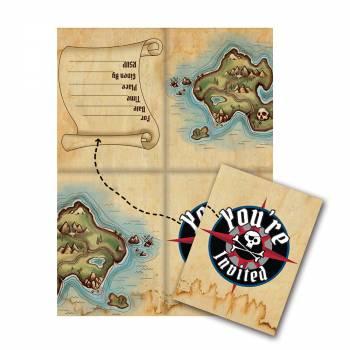 Lot 8 invitations Pirate Carte au Trésor