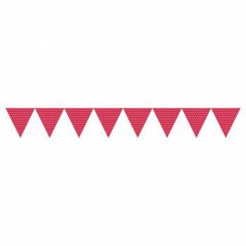 Fanions à suspendre polka rouge