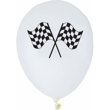 Lot 6 Ballons impression drapeaux Racing Party en latex