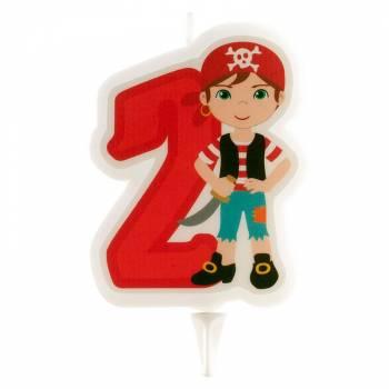 Bougie chiffre 2 Pirate