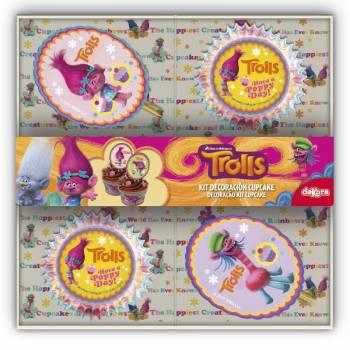 Set Cupcakes 48 caissettes & 24 pics Trolls